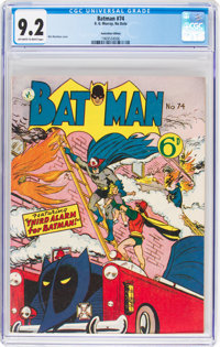 Batman #74 Australian Edition (K. Gordon Murray Productions Inc., 1956) CGC NM- 9.2 Off-white to white pages