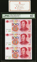 China People's Bank of China 100 Yuan 1999 Pick 901a Uncut Sheet of 3 With Certificate PMG Superb Gem Unc 67 EPQ. ... (T...
