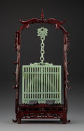 Carvings, A Chinese Carved Hardstone and Wood Birdcage, late 20th century. 21 x 10-1/4 x 4-1/4 inches (53.3 x 26.0 x 10.8 cm) (overall...