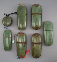 Seven Chinese Shagreen Eyeglass Cases, circa 1900 7-1/2 x 3-1/4 x 1-1/2 inches (19.1 x 8.3 x 3.8 cm) (largest) ... (Tota...