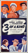 """Movie Posters:Comedy, Three of a Kind (Astor, R-Late 1940s). Folded, Fine/Very Fine.Three Sheet (41"""" X 77""""). Comedy.. ..."""