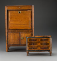 An Italian Neoclassical-Style Marquetry-Inlay Miniature Commode and a French Louis XVI-Style Miniature Secrétaire...