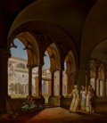 Paintings:Antique  (Pre 1900), Ditlev Martens (German, 1795-1864). The cloister of Santa Maria del Paradiso, Viterbo, 1850. Oil on canvas. 31-1/2 x 26 ...