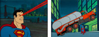 Super Friends Superman Gift Cels on Master Backgrounds Group of 2 (Hanna-Barbera, 1970's /'80s).... (Total: 2 Original A...