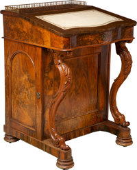 A William IV-Style Carved Walnut Davenport Desk, mid-19th century 33-1/2 x 23 x 23-1/2 inches (85.1 x 58.4 x 59.7