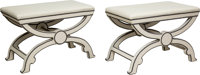 A Pair of Curule Benches with Hermès Leather Upholstery, designed by Paxton Gremillion, Dallas, Texas, 20th centu...