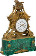 Clocks & Mechanical, A French Louis XVI-Style Malachite and Gilt Bronze Mantel Clock, mid-19th century. 32 x 24 x 8 inches (81.3 x 61.0 x 20.3 cm...