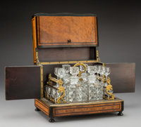 A French Napoleon III Burl Wood, Brass, and Glass Cave à Liqueur, mid-19th century 10-3/4 x 13-1/2 x 10-1/2 inche...