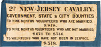Civil War Era Recruiting Banner for the 2nd New Jersey Cavalry