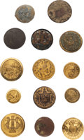 Military & Patriotic, Assorted Military Buttons Including Confederate Examples....