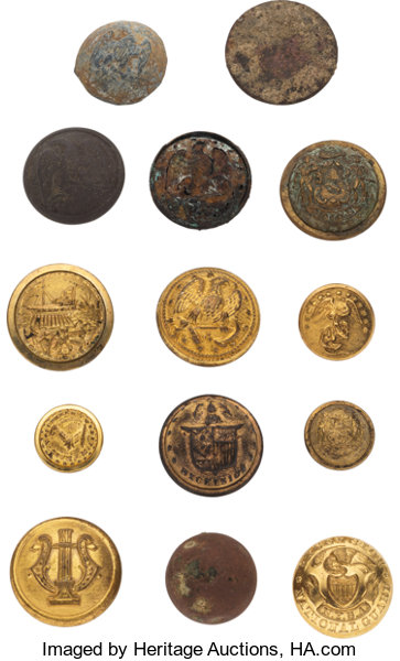 Assorted Military Buttons Including Confederate Examples