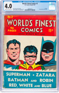 Golden Age (1938-1955):Superhero, World's Finest Comics #2 (DC, 1941) CGC VG 4.0 Cream to off-white pages....