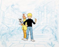Animation Art:Presentation Cel, The New Adventurers of Jonny Quest Ending Title Credits Production Cel Setup with Background Layout Drawing (Hanna-Bar...