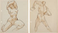 "Animation Art:Production Drawing, ""The Art of Preston Blair"" Anatomy Study Drawings Group of 4 (c.1930s-40s).... (Total: 4 Original Art)"