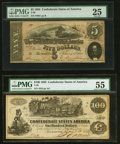 Confederate Notes:Group Lots, T39 $100 1862 PF-5 Cr. 291 PMG About Uncirculated 55;. T69 $5 1864 PF-1 Cr. 558 PMG Very Fine 25.. ... (Total: 2 notes)