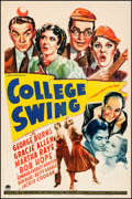 """Movie Posters:Comedy, College Swing (Paramount, 1938). Fine+ on Linen. One Sheet (27"""" X41""""). Comedy. From the Collection of Frank Buxton, of wh..."""
