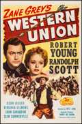 "Movie Posters:Western, Western Union (20th Century Fox, R-1947). Very Fine on Linen. One Sheet (27"" X 41""). Western. From the Collection of Frank..."