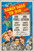 "Movie Posters:Comedy, Nancy Goes to Rio (MGM, 1950). Folded, Very Fine. One Sheet (27"" X41"") & Lobby Cards (6). Comedy.. ... (Total: 8 Items)"