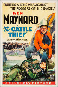 "The Cattle Thief (Columbia, 1936). Fine+ on Linen. One Sheet (27"" X 41""). Western"