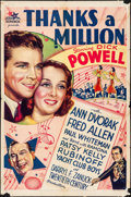 """Movie Posters:Comedy, Thanks a Million (20th Century Fox, 1935). Folded, Fine-. One Sheet(27"""" X 41""""). Comedy. From the Collection of Frank Buxt..."""