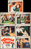 """Movie Posters:Sports, College Coach (Warner Brothers, 1933). Fine+. Title Lobby Card & Lobby Cards (6) (11"""" X 14""""). Sports. From the Collection ... (Total: 7 Items)"""