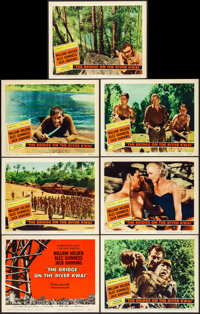 "The Bridge on the River Kwai (Columbia, 1958). Very Fine. Title Lobby Card & Lobby Cards (6) (11"" X 14"")..."