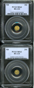 California Fractional Gold: , Undated 25C Liberty Round 25 Cents, BG-222, R.2, MS63 PCGS,... (2Coins)