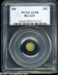 California Fractional Gold: , Undated 25C Liberty Round 25 Cents, BG-224, R.3, AU58 PCGS....