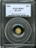 California Fractional Gold: , 1856 25C Liberty Round 25 Cents, BG-229, R.4, MS63 PCGS....