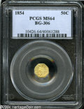 California Fractional Gold: , 1854 50C Liberty Octagonal 50 Cents, BG-306, R.4, MS64 PCGS....