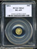 California Fractional Gold: , 1853 50C Liberty Round 50 Cents, BG-409, R.3, MS62 PCGS....