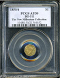 California Fractional Gold: , 1855/4 $1 Liberty Octagonal 1 Dollar, BG-511, High R.4, AU50PCGS....