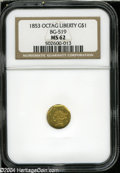 California Fractional Gold: , 1853 $1 Liberty Octagonal 1 Dollar, BG-519, Low R.4, MS62 NGC....