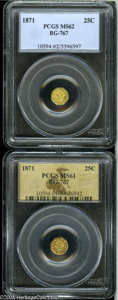 California Fractional Gold: , 1871 25C Liberty Octagonal 25 Cents, BG-767, R.3, MS61 PCGS,... (2coins)
