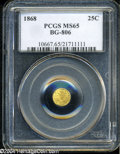 California Fractional Gold: , 1868 25C Liberty Round 25 Cents, BG-806, R.3, MS65 PCGS....