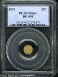 California Fractional Gold: , 1870 25C Liberty Round 25 Cents, BG-808, R.3, MS64 PCGS....
