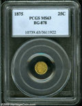 California Fractional Gold: , 1875 25C Indian Round 25 Cents, BG-878, R.3, MS63 PCGS....