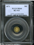 California Fractional Gold: , 1873 50C Liberty Octagonal 50 Cents, BG-915, Low R.4, MS64 PCGS....
