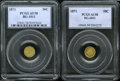 California Fractional Gold: , 1871 50C Liberty Round 50 Cents, BG-1011, R.2, AU58 PCGS,... (2Coins)