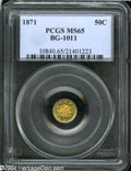California Fractional Gold: , 1871 50C Liberty Round 50 Cents, BG-1011, R.2, MS65 PCGS....