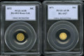 California Fractional Gold: , 1872 50C Liberty Round 50 Cents, BG-1013, Low R.6, AU58 PCGS,... (2Coins)