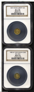 California Fractional Gold: , 1880/70 50C Indian Round 50 Cents, BG-1067, Low R.4, MS61 NGC,...(2 coins)