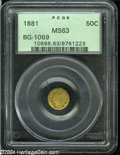 California Fractional Gold: , 1881 50C Indian Round 50 Cents, BG-1069, High R.4, MS63 PCGS....