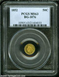 California Fractional Gold: , 1852 50C Indian Round 50 Cents, BG-1076, Low R.6, MS63 PCGS....