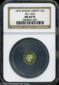 California Fractional Gold: , 1870 $1 Liberty Round 1 Dollar, BG-1203, Low R.5, MS64 NGC....