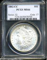 1882-CC $1 MS66 PCGS. Adequately struck, with bright, lustrous surfaces that reveal just a whisper of faint golden-brown...