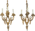 Decorative Arts, Continental, A Pair of Three-Light Gilt Bronze Sconces, late 20th century.29-1/2 x 15 x 7 inches (74.9 x 38.1 x 17.8 cm). ... (Total: 2Items)