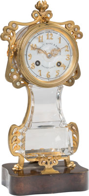 A Bailey, Banks & Biddle Rock Crystal, Gilt Bronze, and Mother-of-Pearl Table Clock, Philadelphia, late 19th-early 2...