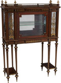 Furniture , A French Louis XVI-Style Mahogany and Gilt Vitrine-on-Stand, 19th century. 58-3/4 x 42 x 14-1/4 inches (149.2 x 106.7 x 36.2...