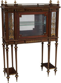 A French Louis XVI-Style Mahogany and Gilt Vitrine-on-Stand, 19th century 58-3/4 x 42 x 14-1/4 inches (149.2 x 106